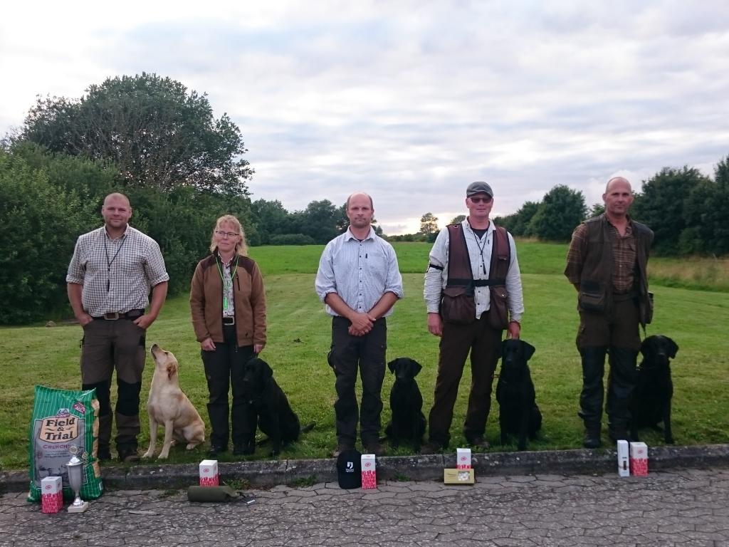 Ravensbank Neat (Neat) with Mrs. Trine Christensen no two from left, as second winner in open class at Unofficial Working Test in July 2016. ©Lobke Jacoline Bloten