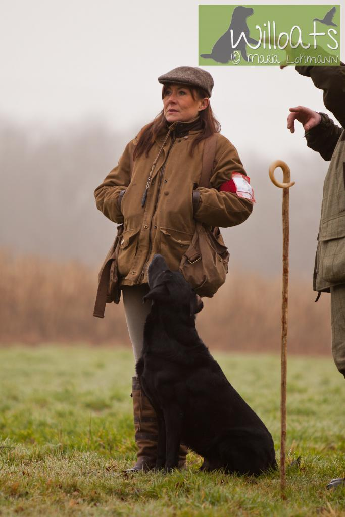 FRFTCH Ravensbank Sir Lancelot (Lance) at Field Trial in France, with his handler Ms. Ann Besnard. January 2015. ©Maria Lohmann, Kennel Willoats